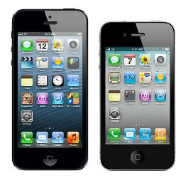 Compare size of Apple iPhone 5 to the iPhone 4S