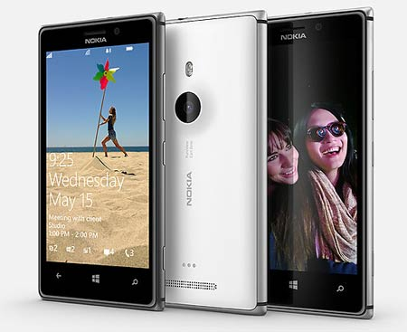 Nokia Lumia 925 showing front and back sides